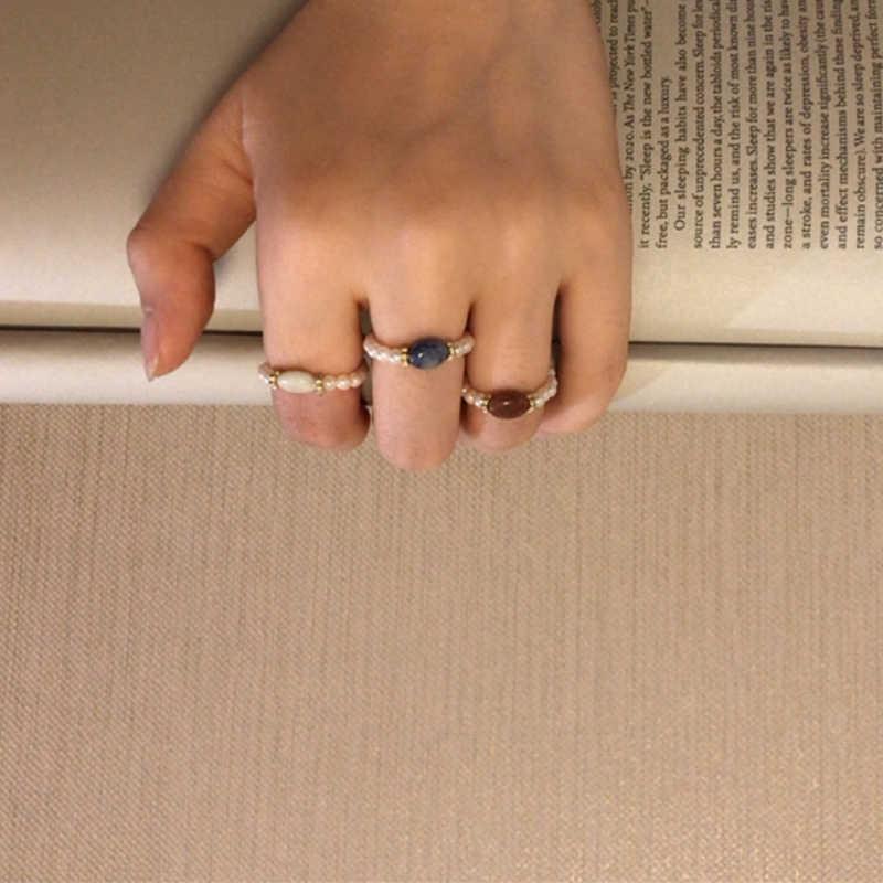 Elegante concha pérola frisado anéis para mulher pedra tecer corda artesanal elástico linha anel encantos contas jóias originais