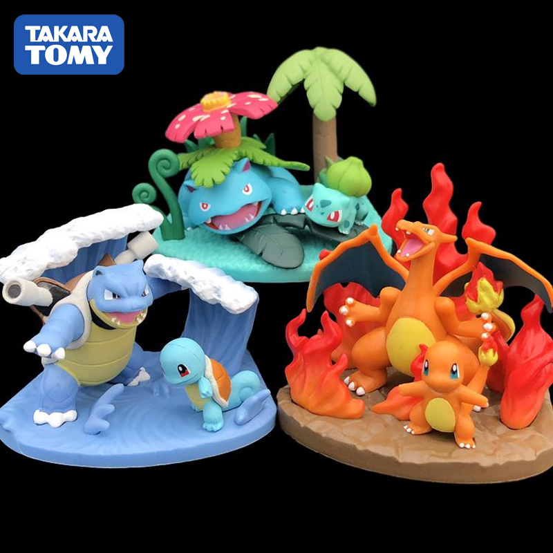TAKARA TOMY Pokemon Anime Figure Pikachu Charizard Mewtwo Squirtle PVC Action Figure Toys Skill Scene Statues Gift for Children image