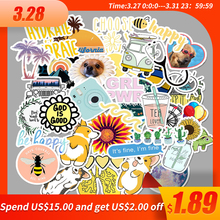50 PCS Cartoon Simple VSCO Girls Kawaii Stickers For Chidren Toy Water