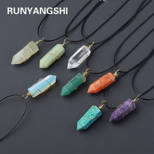 30 kinds of Natural crystal columns Gold woven Pendant magic wand Necklace accessories Energy gemstone gift