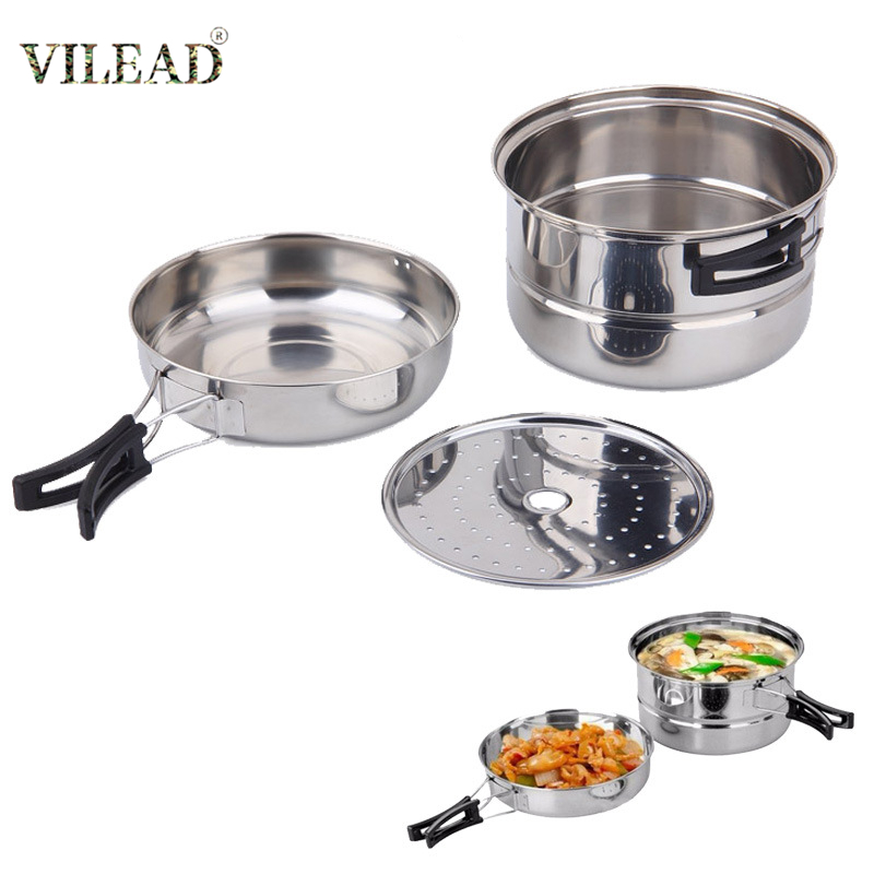 VILEAD Stainless Steel Outdoor Cookware Set For 2-3 Person Portable Camping Cooking Pot Steamer Set For Picnic BBQ Travel Tools