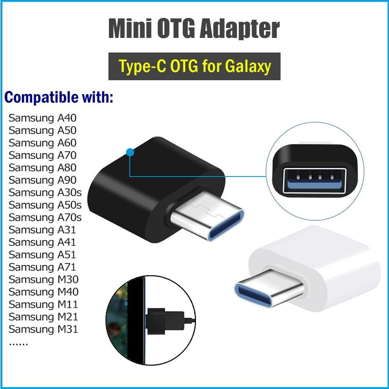 2Pcs Tipo C Adaptador OTG para Samsung Galaxy A6S A9S A40 A50 A60 A70 A80 A50S A70S A31 A41 A51 A71 M31 M30 M40 C USB OTG Connector