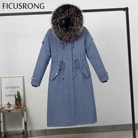 Warm Women's Winter Jackets Faux Fur Coats Parkas Fashion Long Detachable Lamb Hair Liner Park Cotton Jacket Coat FICUSRONG