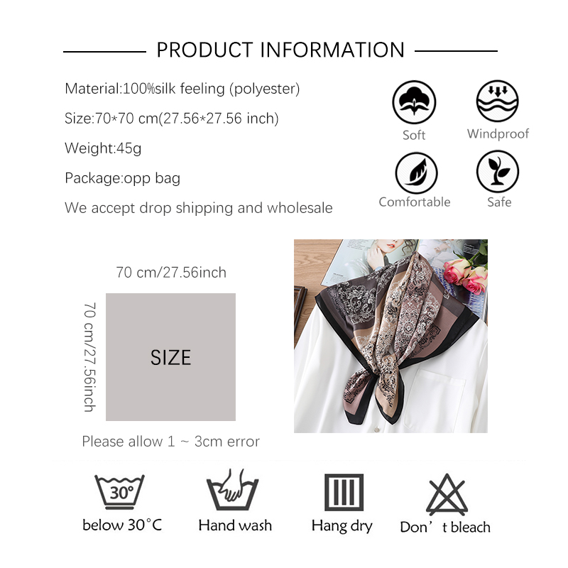 2020 Fashion Silk Square Neck Scarf Foe Ladies Print Foulard Hair Band Hand Scarves Bandana Summer Women Accessories Wraps