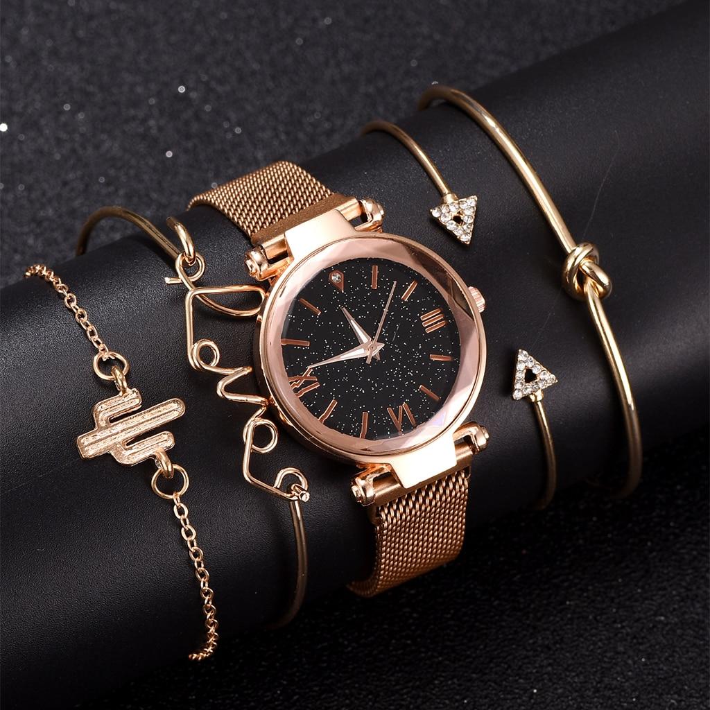 Bracelet Watch Set Luxury Women Watches Magnetic Starry Sky Female Clock Quartz Wristwatch Fashion Ladies Wrist Watch 5pcs Set