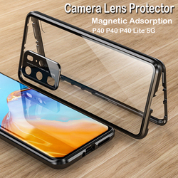 На Алиэкспресс купить стекло для смартфона magnetic phone case for huawei p40 pro p30 pro camera lens tempered glass metal cover bumper for mate 30 pro mate 20x 5g cases