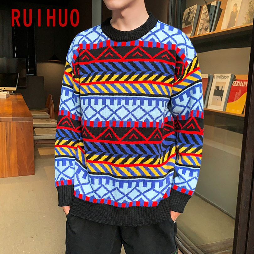 RUIHUO Colored Striped Winter Sweater Men Ugly Christmas Sweater Men Winter Coat Pullover Mens Sweaters For 2019 Autumn 5XL