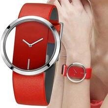 Женские кварцевые часы с прозрачным стеклом и простым циферблатом