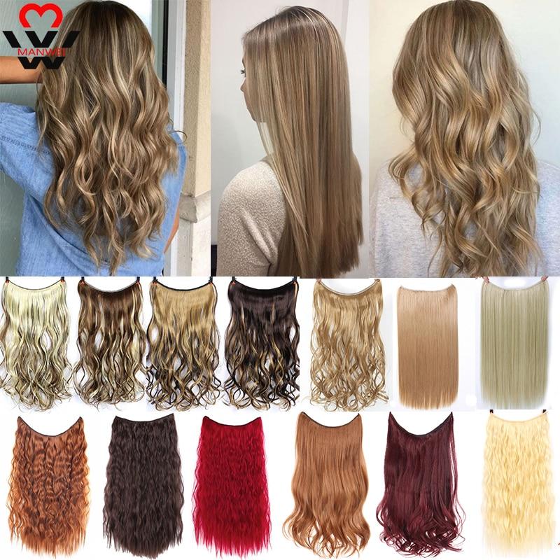 MANWEI włosy doczepiane Clip in Invisible Wire Secret linka wędkarska treski Silky Red długie proste 22 cale akcesoria do włosów