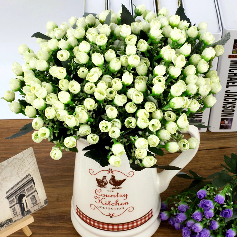 36heads/ 1Bunch Artificial Flowers Bouquet Decorative Party Silk Rose Fake Flowers For Home Wedding Christmas Decoration Indoor