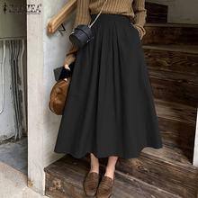 Loose Skirt Pockets Linen ZANZEA Vintage Long Plus-Size Waist High-Elastic Cotton Women