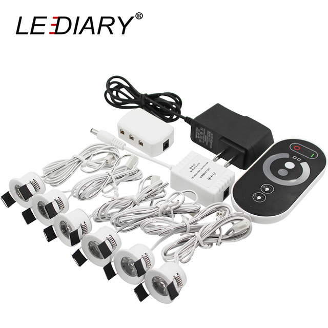 LEDIARY LED Mini Downlights Remote Control Dimmable White Spot Lamp 1.5W 110V 220V 27mm Cut Hole Size Indoor Cabinet Lighting
