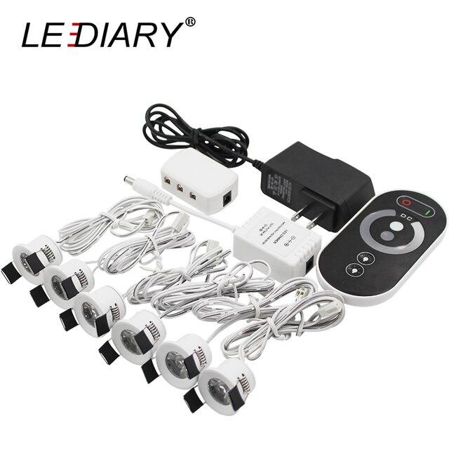 LEDIARY miniluces LED para empotrar, foco blanco regulable con Control remoto, 1,5 W, 110V 220V, 27mm, tamaño de orificio de corte, iluminación de mueble de interiores