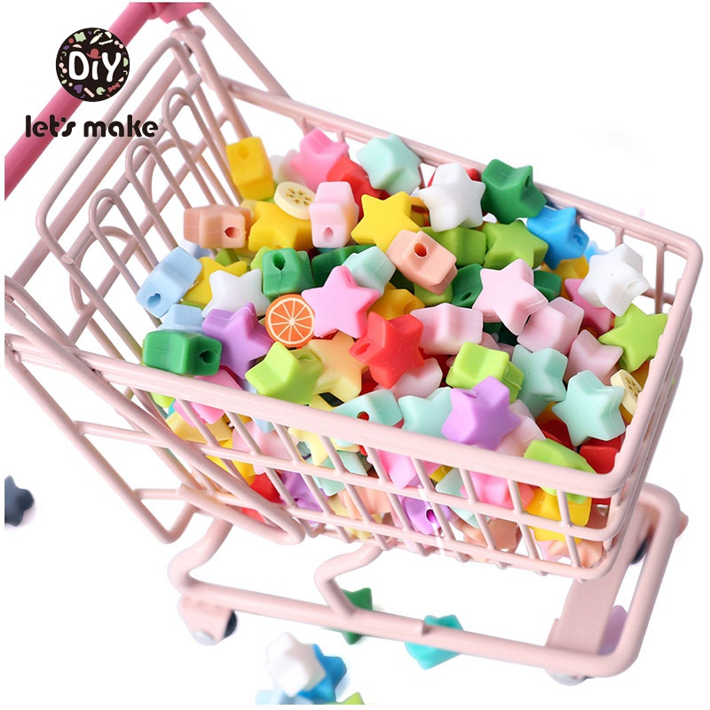 Let's Make Silicone Beads Set Teether Baby Toys 20pcs DIY Mini Star Heart Crown Set Items Food Grade PVC Free Childen's Goods