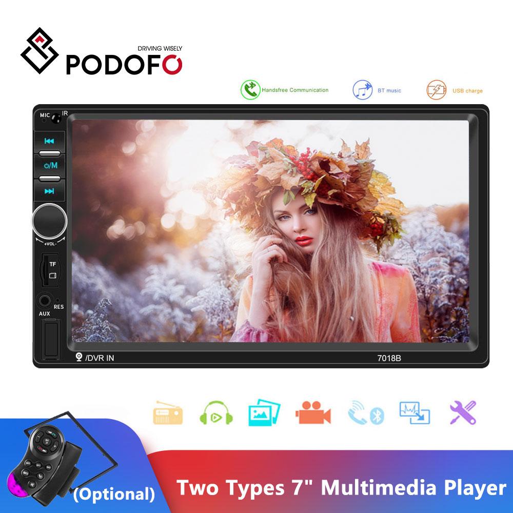 "Podofo Car Radio Autoradio 7"" 2 Din Touch Screen Multimedia Player Bluetooth Mirror Link FM MP5 Player  2din Cassette Recorder"