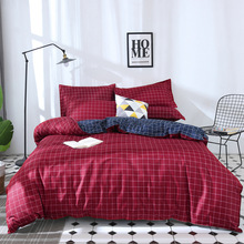 Lanke Luxury bedding set kids,Plaid pattern bed bedding,Home Textile King Queen Size Bed Set