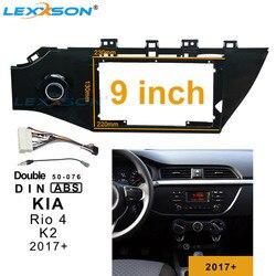 9 cal 2din samochodów ramka wykończeniowa radia dla KIA K2 RIO4 2017 + panel stereo uchwyt do deski rozdzielczej instalacji podwójne Din ramki DVD do K2 RIO 4 2017 +