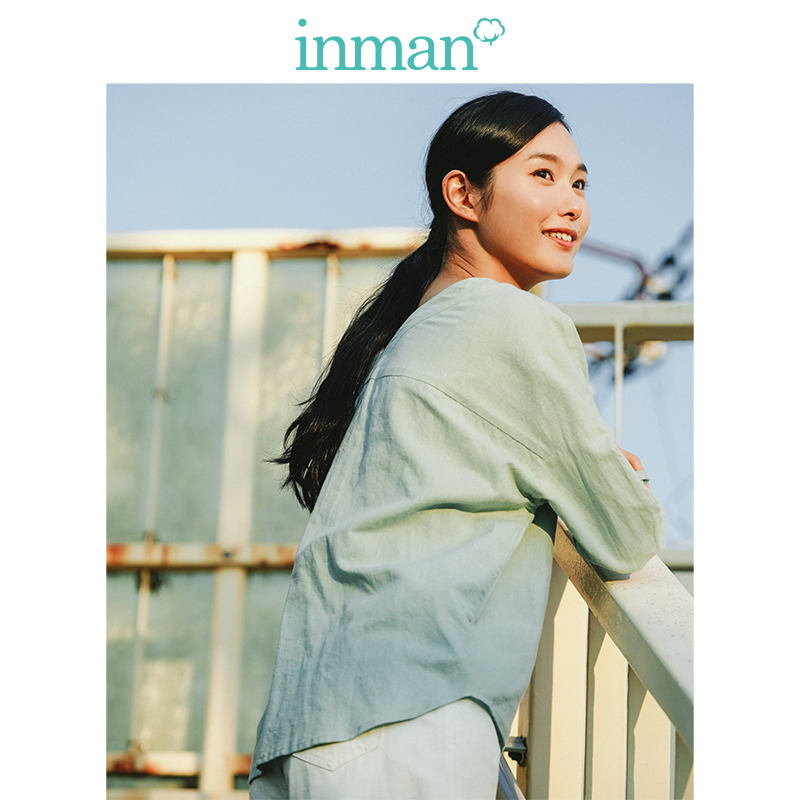 Image 3 - INMAN  Clear Linen V neck Literary Drop shoulder Sleeve Women BlouseBlouses & Shirts   -