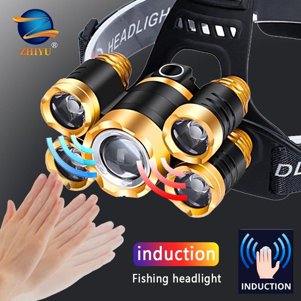 ZHIYU Powerful LED Headlight Headlamp 5LED T6 Head Lamp LED Flashlight Torch Head Light Useing 18650 Battery for Campingfishing
