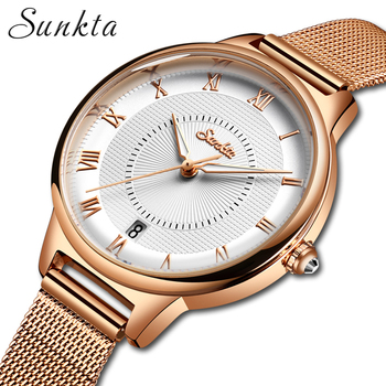 цена SUNKTA Stainless Steel Watch Women Simple Fashion Dress Ladies Watches Casual Quartz Hand Watch Girl Clock Relogio Feminino +Box онлайн в 2017 году