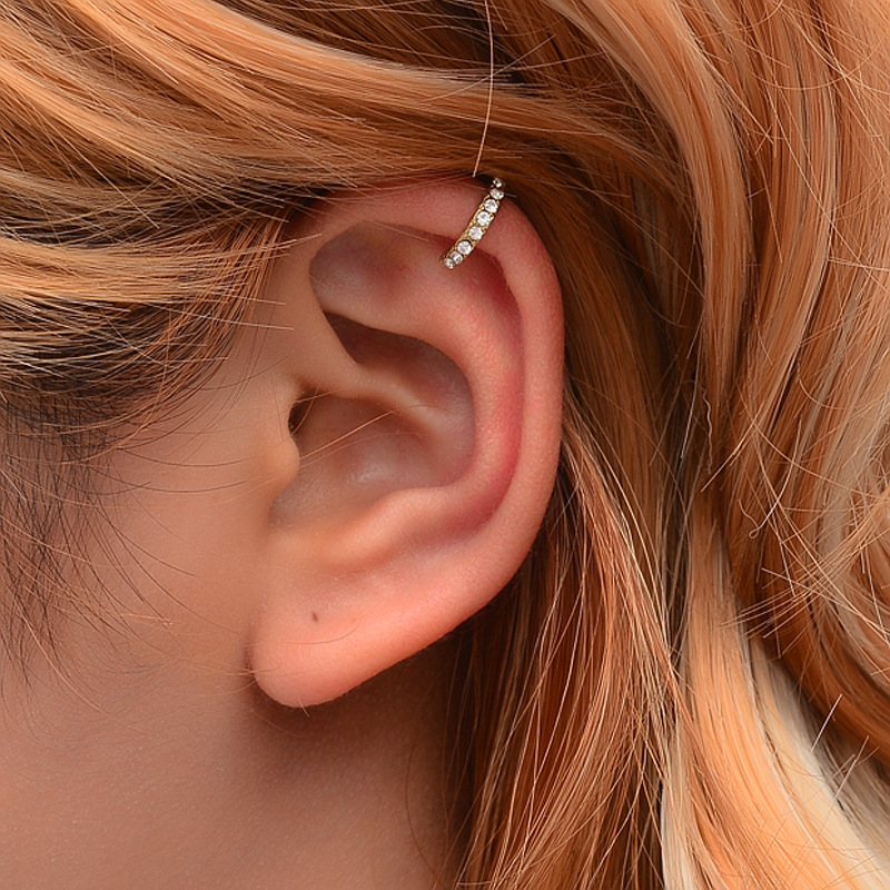 Korean Version Of The Rhombic Ear Clip Ear Clip Earrings Simple Sweet U-shaped Earrings Female Explosion Models
