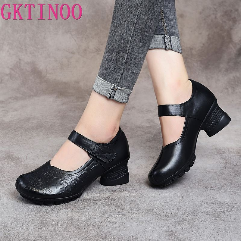 GKTINOO 2019 Vintage Women Pumps Comfortable Genuine Leather High Heel Shoes Women Round Toe Casual Thick Heel Mother Shoes