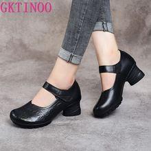 GKTINOO 2020 Vintage kobiety pompy wygodne oryginalne skórzane buty na wysokim obcasie kobiety okrągłe Toe Casual gruby obcas buty dla matek