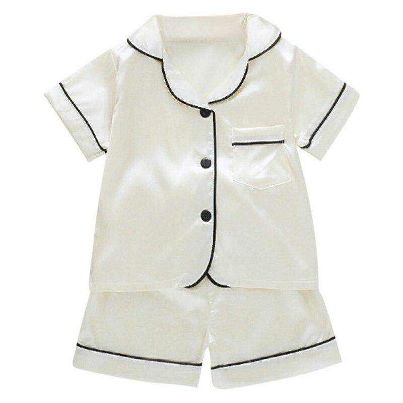 Kids Pajamas Set Silk Women Men Pajamas Boys Girls Bear Print Pyjamas Short Sleeve Blouse Tops+Shorts underwear & sleepwears 4