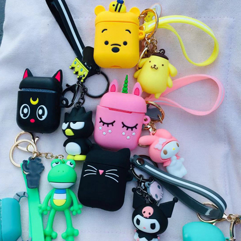 For Airpods 2 Airpods Case Cute Cartoon With Key Ring Accessories Protective Silicon Case For Air Pods Wireless Earphone Cover