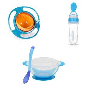 Набор чаш для малышей, обучающая чаша, силиконовая ложка, посуда, Обучающие блюда с присоской, Детские тренировочные столовые приборы