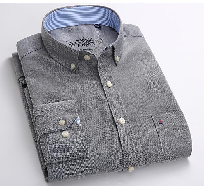 Hc332889ac786493ea756aa4d2d819d421 Men's Plus Size Casual Solid Oxford Dress Shirt Single Patch Pocket Long Sleeve Regular-fit Button-down Thick Shirts
