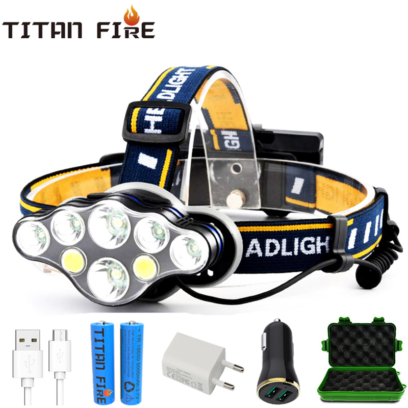 Lampa czołowa LED T20 akumulator T6 COB 8 trybów lampy reflektorów 6000 lumenów latarka Zoomable wodoodporna na wędkowanie Camping