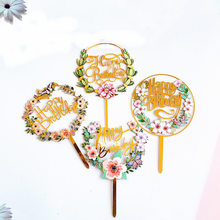 ins Plant flowers Happy Birthday Cake Toppers Golden Acrylic birthday party cake Topper For Baby Shower Cakes Dessert Decoration