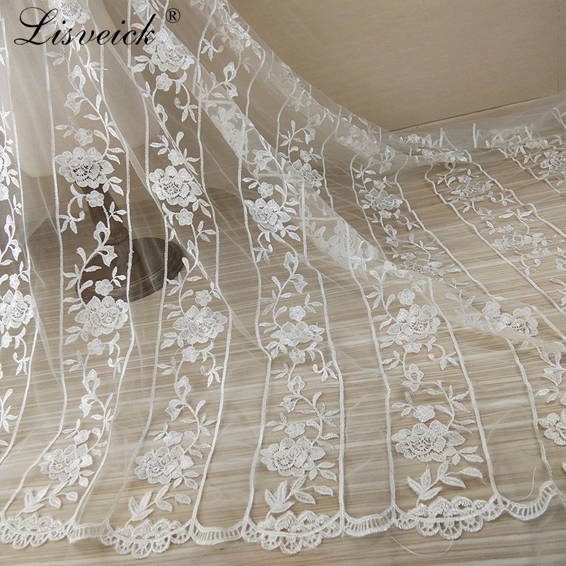 1yard New pastoral style rose flower embroidery mesh tulle lace fabric fashion wedding dress material diy craft