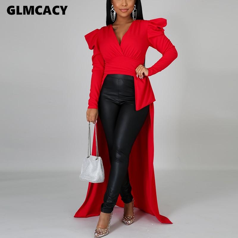 Women Solid Dip Hem Blouse Long Sleeve V Neck Casual Blouses Tops Elegant Long Shirt Blouse Classy OL Workwear