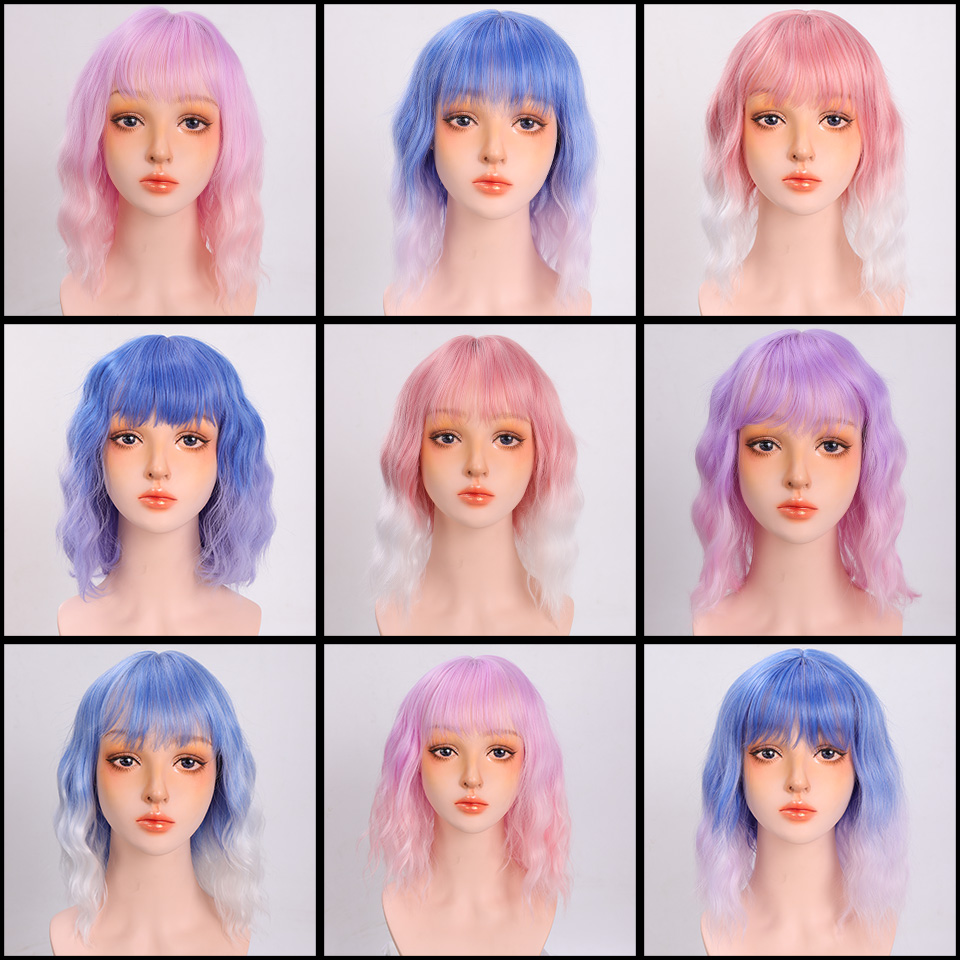Hc332c2eaac664f1f92b6077ac705c21cV - Short Water Wave Synthetic Hair Mixed Purple and pink Wigs Available Cosplay Wig For Women Heat Resistant Fiber Daily Bob Wig