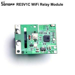 Image 3 - 5 adet SONOFF RE5V1C Wifi DIY anahtarı 5V DC röle modülü akıllı kablosuz anahtarları Inching/kendinden kilitleme mod APP/ses uzaktan açma/kapama