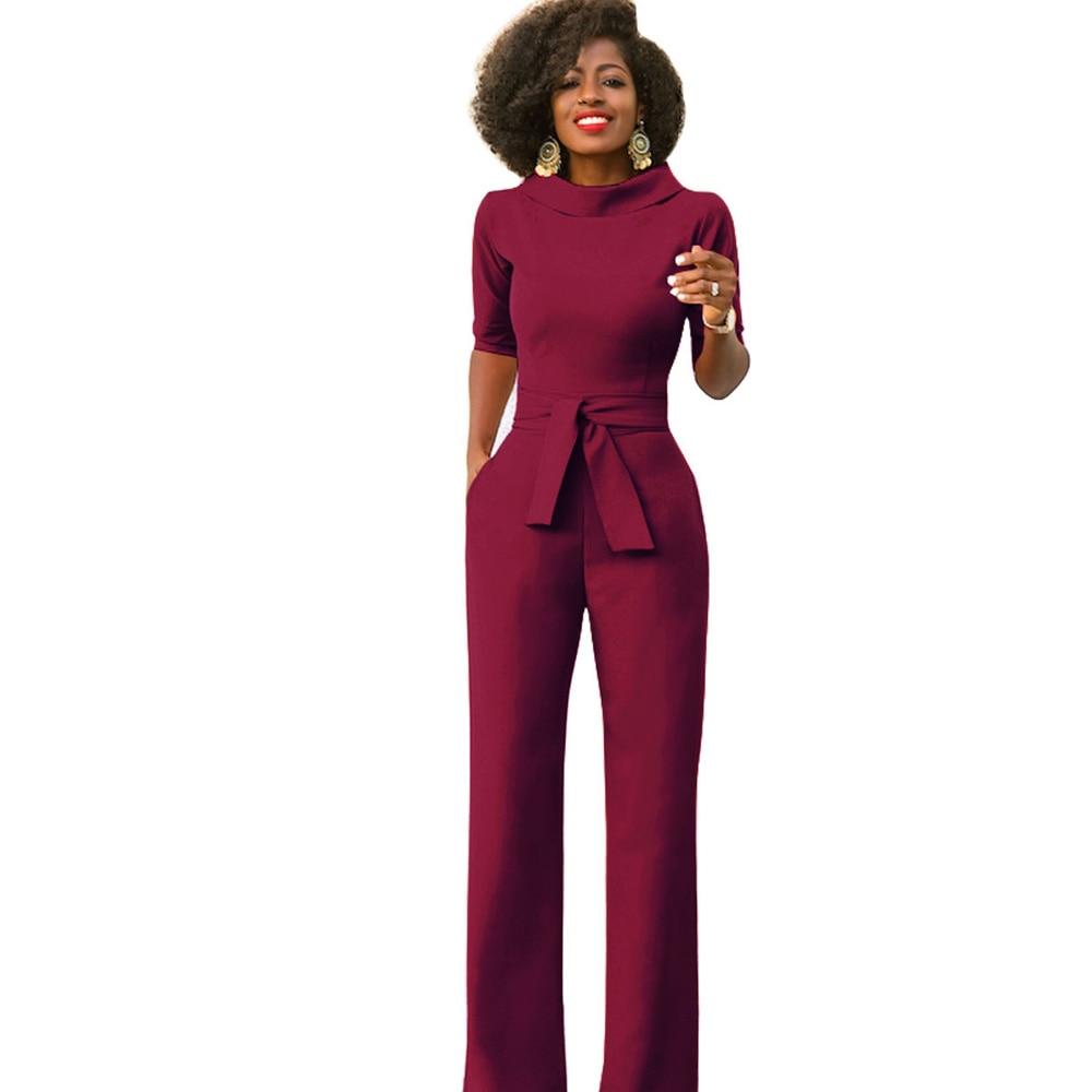 Elegant Office Work Wear Business Formal Jumpsuits 2018 Women Half Sleeve Pockets Wide Leg Pants Romper Fashion Overalls Sashes
