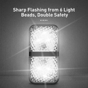 Image 4 - Baseus 2Pcs 6 LEDsเปิดประตูไฟเตือนความปลอดภัยAnti Collisionไฟฉุกเฉินรถแฟลชไฟสัญญาณ