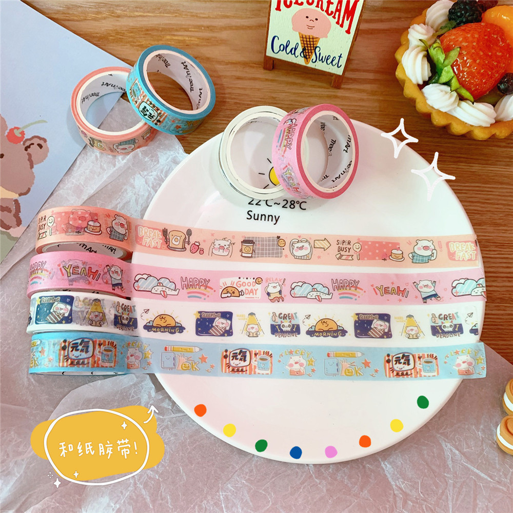 SIXONE Ins Cartoon Piggy Can Tear Washi Tape Student Notebook Kawaii Decorative Adhesive Tapes Office School Supplies Stationery