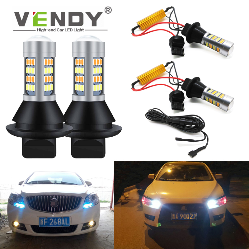 1set WY21W T20 PY21W BAU15S Car LED Turn Signal Light + Daytime Running Light DRL For toyota land cruiser 100 fj camry 40 sienna image