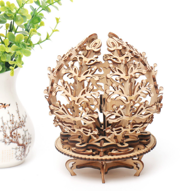 Diy Wooden Mechanical Transmission Woman Flower Gear Rotate Puzzle Ukraine Ugears Model Valentine's Day And Birthday Gifts