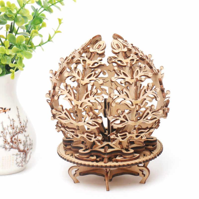 Diy drewniana mechaniczna skrzynia biegów kobieta kwiat biegów obróć Puzzle ukraina Ugears Model walentynki i prezenty urodzinowe
