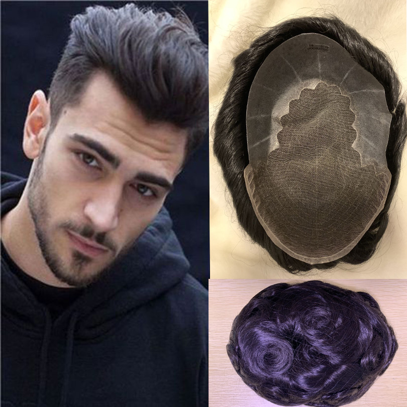 BYMC European Virgin Human Hair Man Toupee Fine Mono Top With PU Skin Lace Front On Rite
