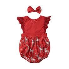 цена на Xmas Infant Kids Girls Cute Rompers Headband 2pcs Lace Ruffles Sleeve Animal Print Jumpsuits Christmas Clothes