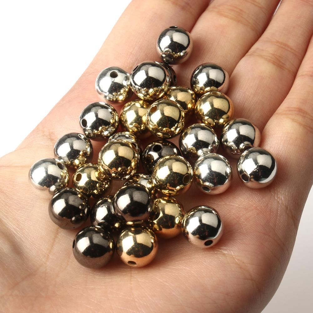 30-500 шт./лот 3 4 6 8 10 12 мм CCB разделительные бусины золотого и серебряного цвета большие бусины для изготовления ювелирных изделий своими рукам...
