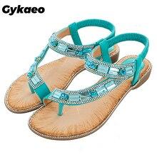 Gykaeo damskie buty na lato styl boho niebieskie czerwone modne sandały damskie krata w paski płaskie podeszwie buty na plażę Zapatos De Mujer