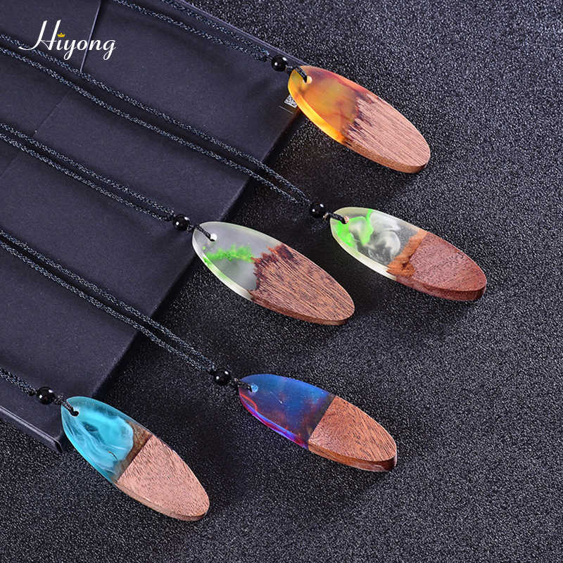 HIYONG Time Resin Wooden Pendant Necklace Adjustable Handmade Wood Resin Necklace for Women Men Sweater Chain Jewelry Gifts