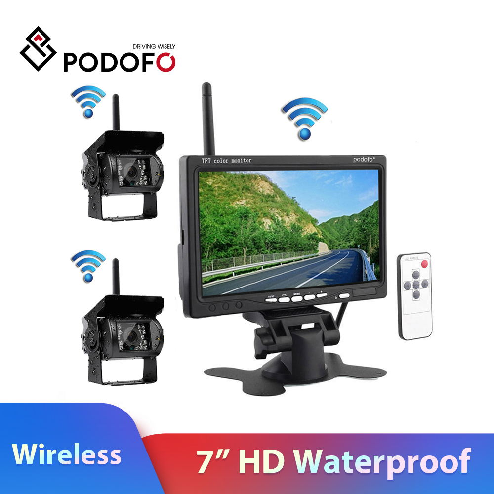 """Podofo Wireless Dual Backup Reversing Cameras + 7"""" Car Monitor with IR Night Vision Rear View Camera for RV Truck Trailer Bus