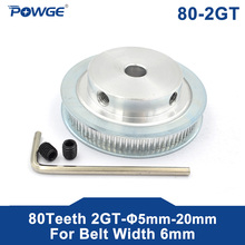 Pulley Timing-Belt 80-Teeth Bore 2GT POWGE for Width 6mm 80T 2M 5/6/6.35-/.. Synchronous